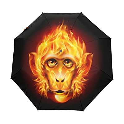 My Little Nest Hot Fire Monkey Umbrella Sun Rain Windproof Travel Umbrella with Auto Open Close Button