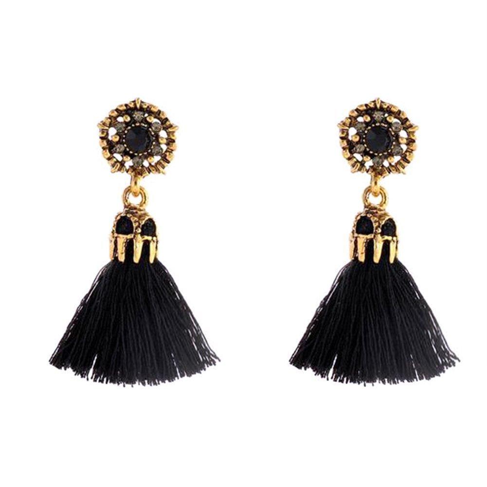 Babasee Women Girl Vintage Hollow Crystal Tassel Dangle Stud Earrings Jewelry Earrings