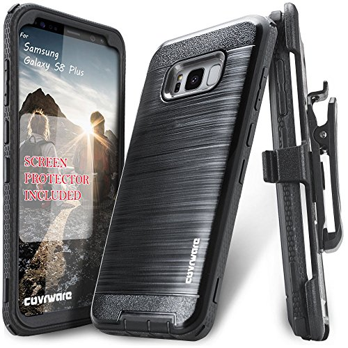 Samsung Galaxy S8 Plus Case, COVRWARE [Iron Tank] + [Screen Protector] Heavy Duty Full-Body Rugged Holster Armor [Brushed Metal Texture] Case [Belt Clip][Kickstand], Black