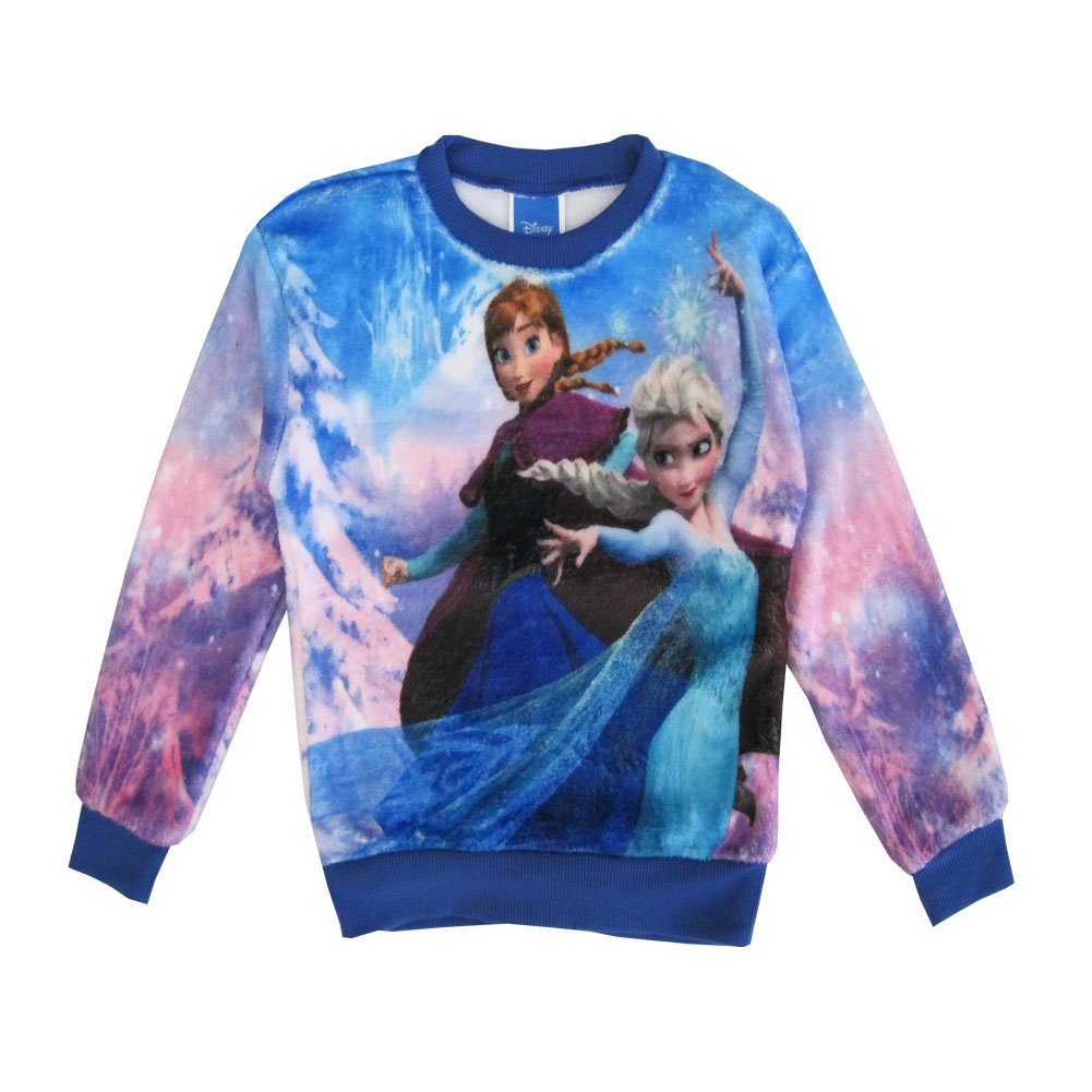 Disney Little Girls Blue Frozen Anna Elsa Graphic Print Sweater 5
