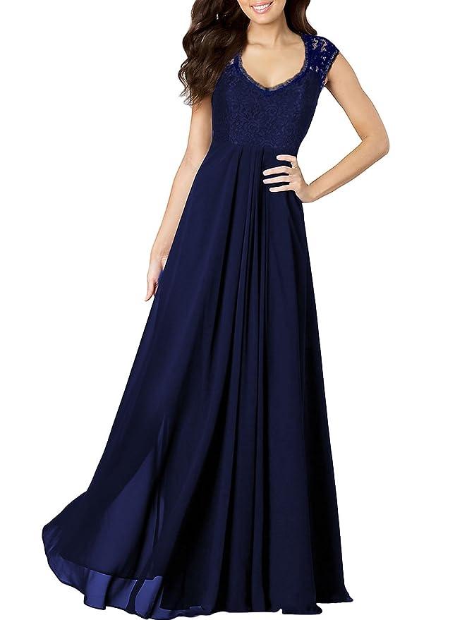 2121f097b6df Amazon.com: Miusol Women's Casual Deep- V Neck Sleeveless Vintage Wedding  Maxi Dress: Clothing