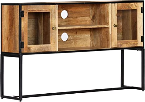 vidaXL Mueble TV Madera Maciza Reciclada 2 Puertas Cristal + 2 Compartimentos Módulo Estante Televisión Aparador Televisor Salón Comedor Habitación: Amazon.es: Electrónica