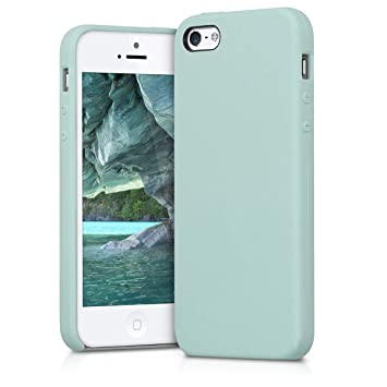 kwmobile Funda compatible con Apple iPhone SE / 5 / 5S - Carcasa de TPU para móvil - Cover trasero en menta mate