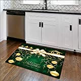 Soft Non Slip Absorbent Bath Rugs Green Christmas background with golden baubles and Christian scene with three wise men Machine Washable Large Mats Materials W39'' x H20''