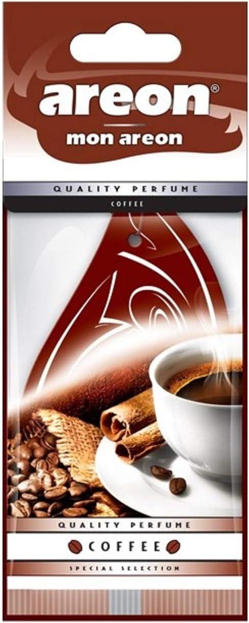 Areon Mon Coffee Auto Lufterfrischer Hängender Brauner Tropfen Lieferwagen Lkw Wohnmobil Zuhause Büro Badezimmer Fitnessstudio Kleiderschrank Schubladen 3er Set Auto
