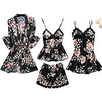 Aiweijia Women Pyjama Set Girls Ladies Nightwear Silk Satin Pajamas Sleepwear Nighties Robe Dressing Gown Nightdress…