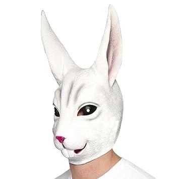 Máscara de conejo Careta de liebre Antifaz látex roedor Mascarilla animal Accesorio carnaval animales Cara rabbit