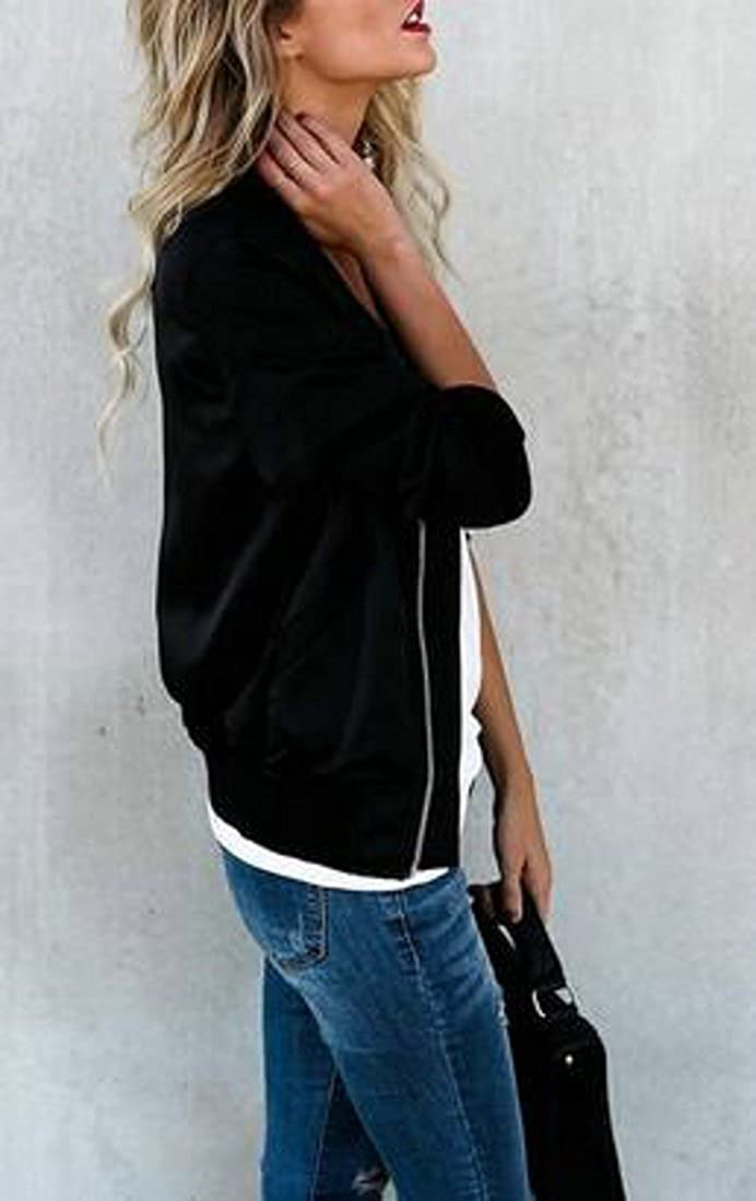 GloryA Womens Baseball Casual Outdoor Long Sleeve Solid Coat Full-Zipper Jacket