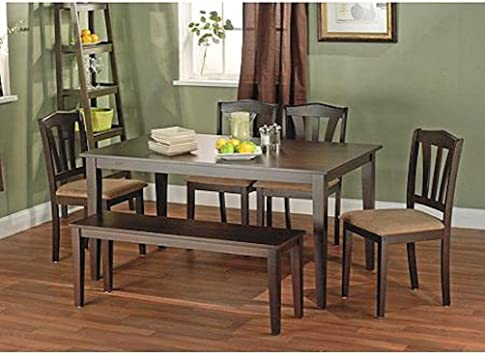 Metropolitan Brown/Espresso 6-Piece Dining Set with Table, Bench and 4  Chairs for Dining Room, Kitchen or Nook for Meals, Dinner, Supper, Lunch or  ...