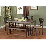 Metropolitan Brown/Espresso 6-Piece Dining Set with Table, Bench and 4 Chairs for Dining Room, Kitchen or Nook for Meals, Dinner, Supper, Lunch or Breakfast with Family and Friends (Brown)