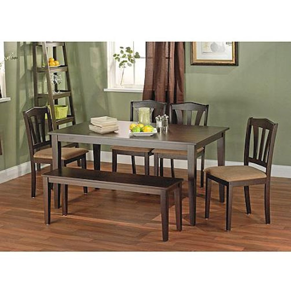 Awesome Metropolitan Brown Espresso 6 Piece Dining Set With Table Bench And 4 Chairs For Dining Room Kitchen Or Nook For Meals Dinner Supper Lunch Or Unemploymentrelief Wooden Chair Designs For Living Room Unemploymentrelieforg