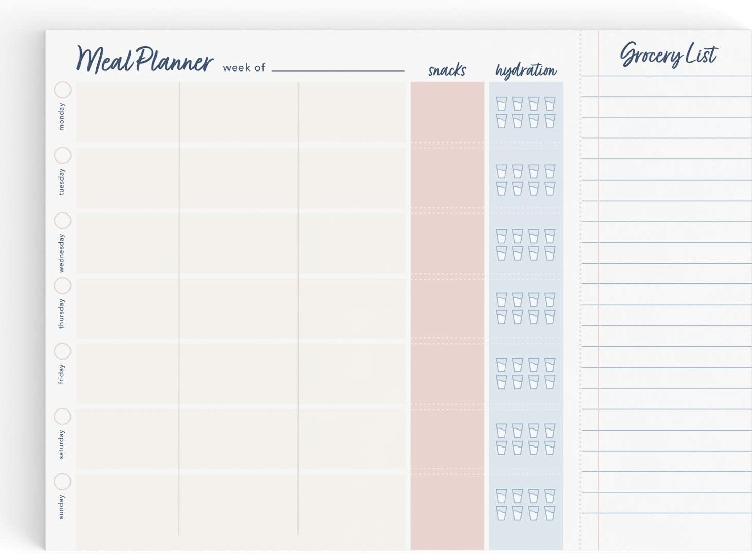 Weekly Meal Planner Notepad with Perforated Grocery List, Food Planning Menu Organizer and Shopping List Pad, 60 Tear-Off Sheets, 8 in by 11 in, Blush Pink and Navy Blue Elegant Simple Design