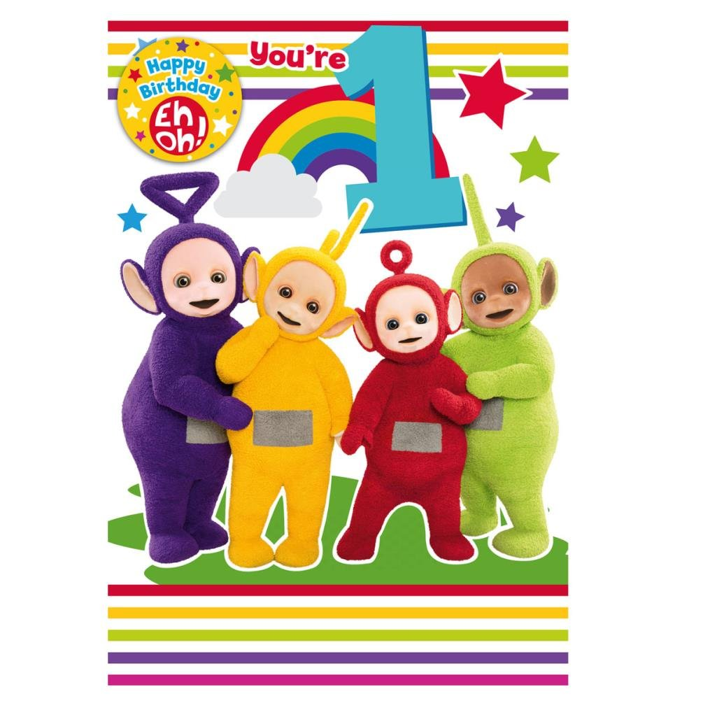 Teletubbies Age 1 Birthday Card with a Badge Amazoncouk Toys – Happy 1st Birthday Card
