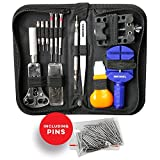 MMOBIEL 144 PCS PROFESSIONAL Watchmaker Repair Tool Kit Incl Watch Spring Pin Bars and Back Case Opener Screw Wrench for inserting batteries in Nylon Bag