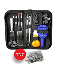 MMOBIEL 144 PCS Professional Watchmaker Repair Tool Kit Incl. Watch Spring Pin Bars and Back Case Opener Screw in Nylon Bag