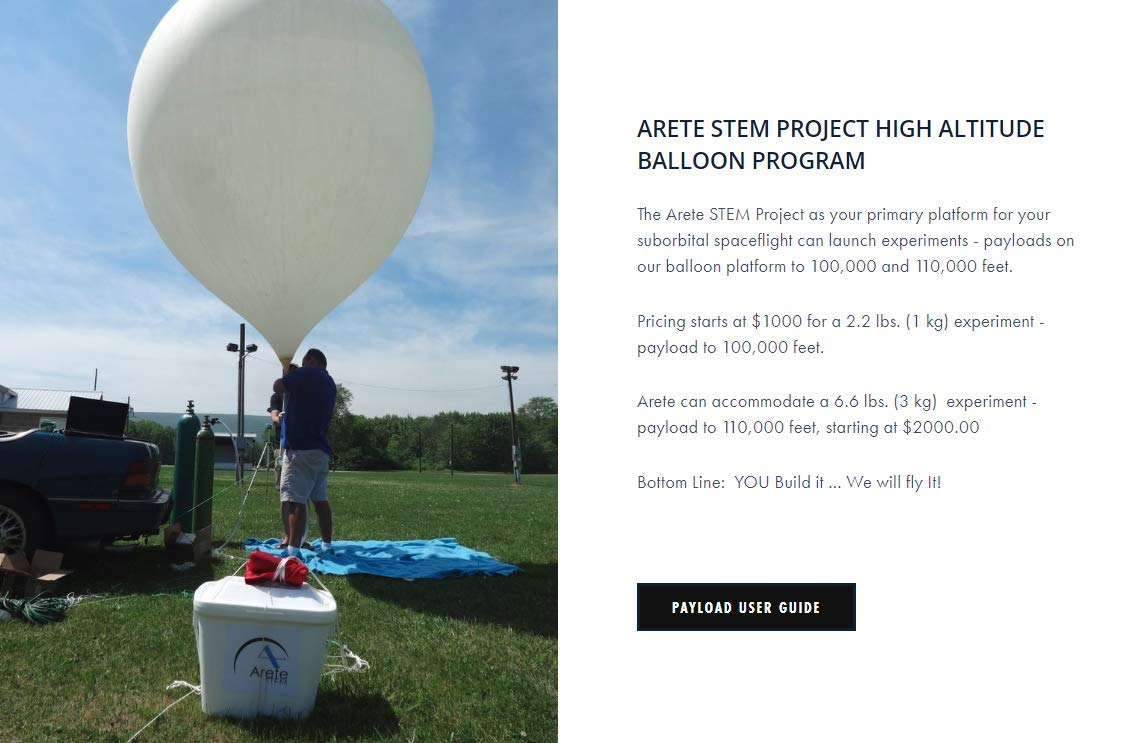 THE ARETE STEM PROJECT - Reservation Deposit for 100,000 Ft. High Altitude Balloon Suborbital Space Flight, Research Education Mission''Mercury'' Services Package (2.2 Lbs. Payload Upper Weight Limit)