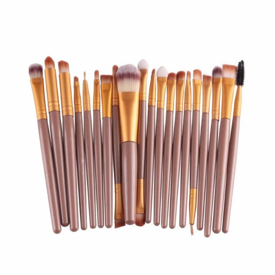 Voberry® Professionnel 20 pcs/set Pinceaux - Brosse de Maquillage / Brush Cosmétique Beauté & Make-up Manche en Bois Or (H)