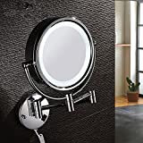 Large Retractable Bathroom Mirror Led mirror European-style retractable folding double-sided mirror vanity mirrors bathroom mirrors wall mount makeup mirror 8 inch LED lamps