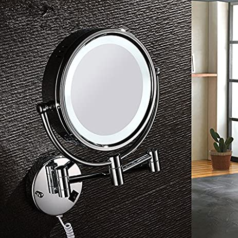 Led Mirror European Style Retractable Folding Double Sided Mirror Vanity  Mirrors Bathroom Mirrors Wall