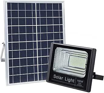 100W Solar Flood Light Sensor Remote Control Lamp Outdoor Waterproof JD-8800 Warm White