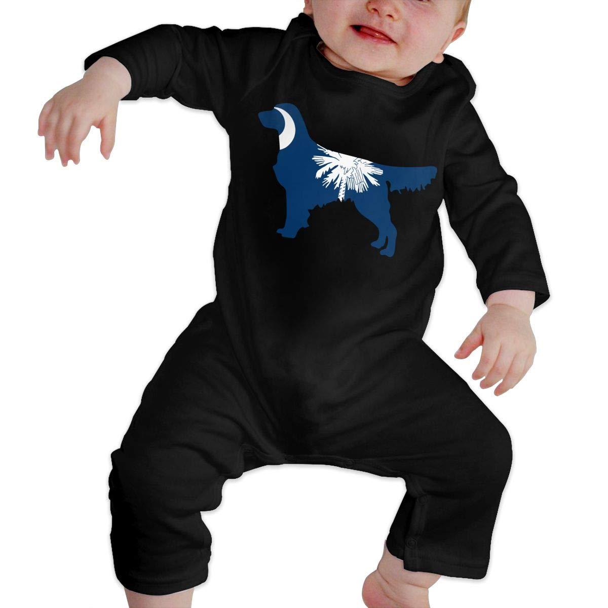 South Carolina Flag Golden Retriever Dogs Baby Boy Girl Long Sleeve Romper Jumpsuit Infant Romper Jumpsuit