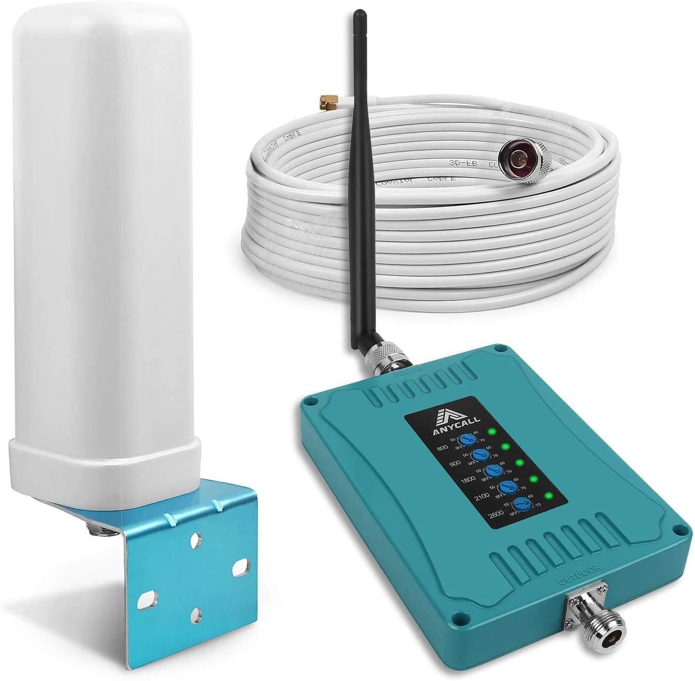 ANYCALL 5-Banda Repetidores de señal de móviles gsm 3G 4G Amplificador de Cobertura Mejora Llamadas y Datos Movistar/Orange/Yoigo/Vodafone 4G ...