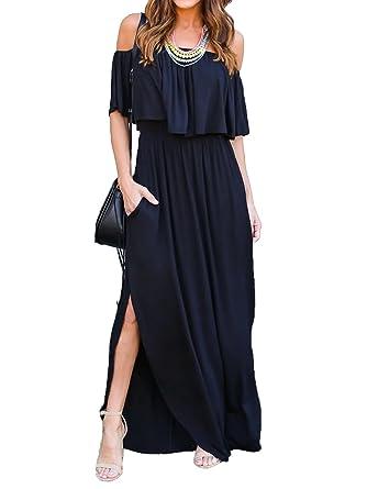 7f3e022fdfae Choies Women s Off Shoulder Ruffle Maxi Dress Side Split Pockets Long Dress