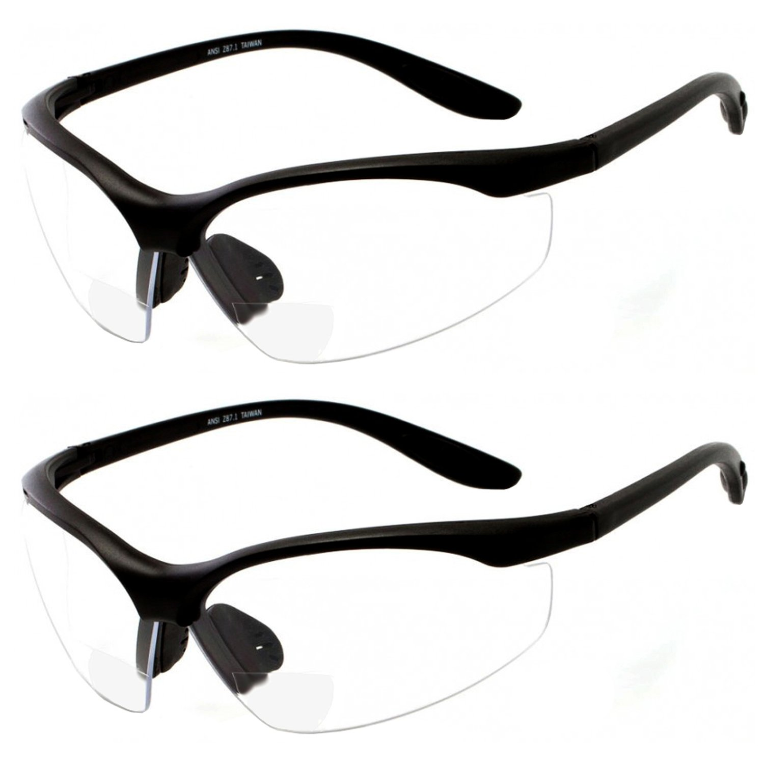 2 Pairs Bifocal Safety Glasses Clear Lens with Reading Corner - Non-Slip Rubber Grip Diopter/+1.50