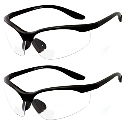 b346a2ef8880 2 Pairs Bifocal Safety Glasses Clear Lens with Reading Corner - Non-Slip  Rubber Grip Diopter +2.50 - - Amazon.com