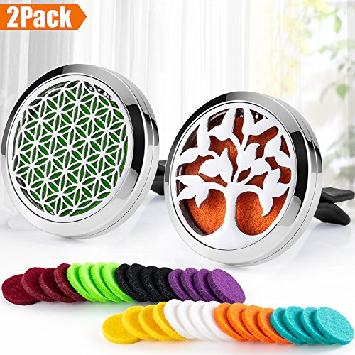 2PCS 30mm Car Essential Oils Diffuser Stainless Steel Car Aromatherapy Diffuser Vent Clip+32pcs Refill Pads (Flower of Life&Tree of Life (Silver A)