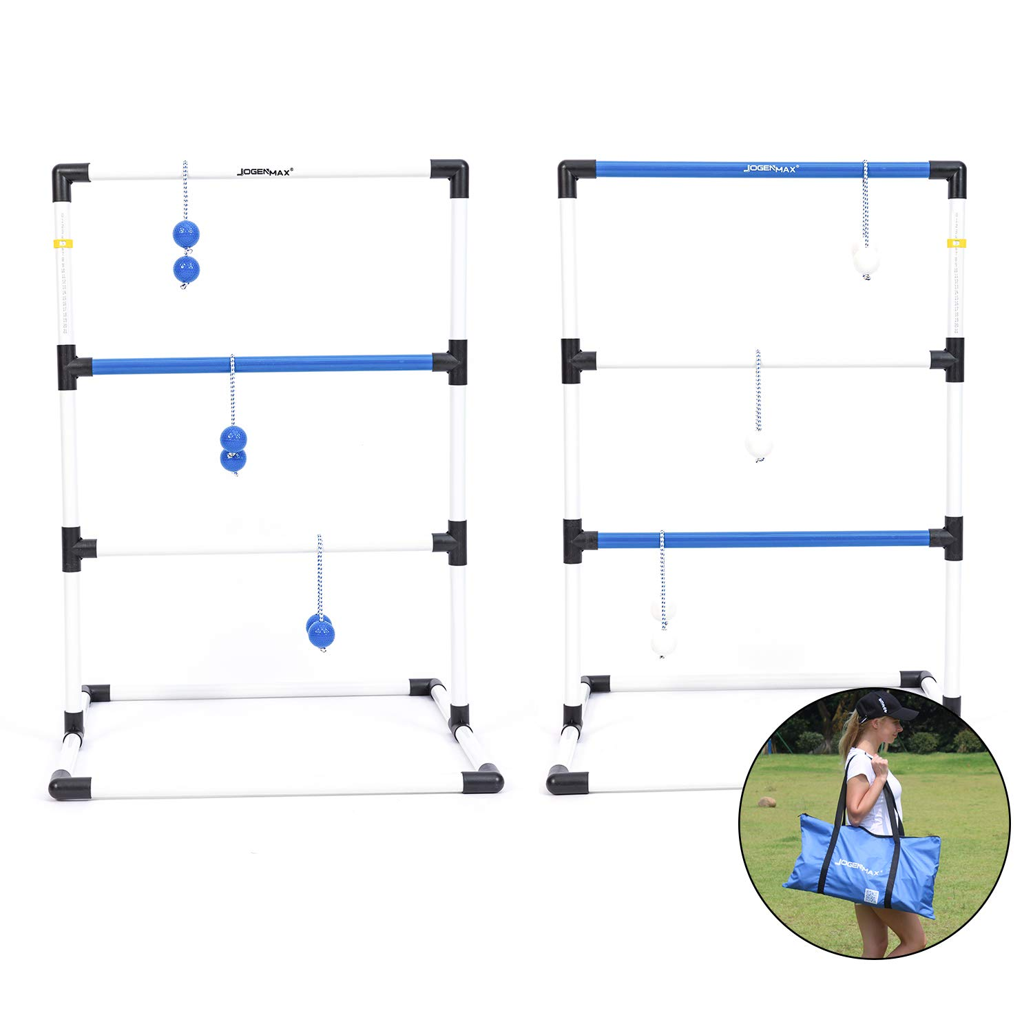 JOGENMAX Ladder Toss Game Set Indoor/Outdoor Lawn Game with 6 Bolo Balls, Portable Carrying Case and Score Trackers, 38 x 24Inch