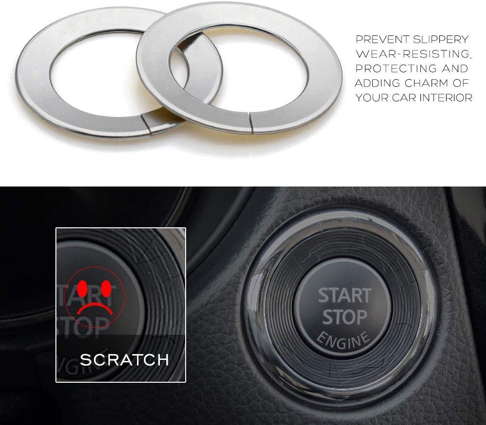 Ceyes Black Engine Start Stop Button Ring Push Button Ignition Switch Ring Trim Sticker for Nissan X-Trail T32 Rogue Qashqai Juke 15 Murano Teana Infiniti Q50 Q50L Q60 QX60 2014-2017