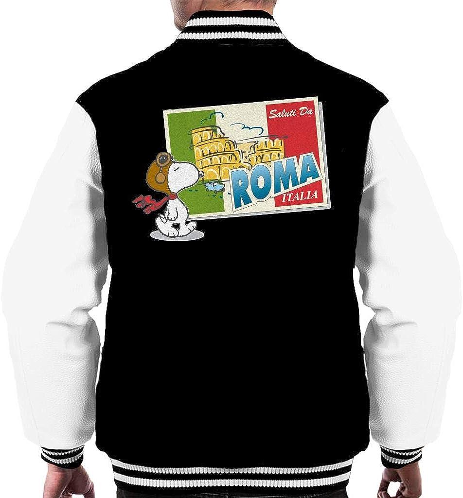 Peanuts Snoopy in Roma Italy Men's Varsity Jacket Black/White