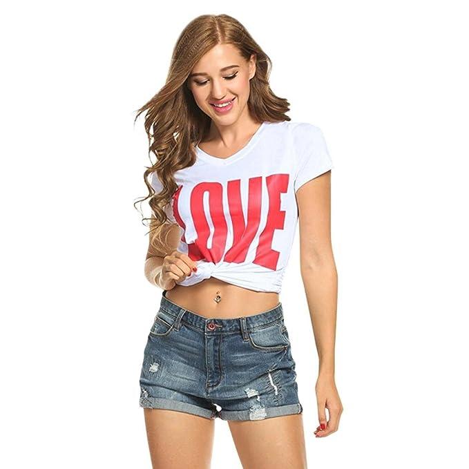 Cinnamou Las Mujeres de Moda deManga Corta Camiseta Love Print Casual Blusa Tops Ropa Pullover de