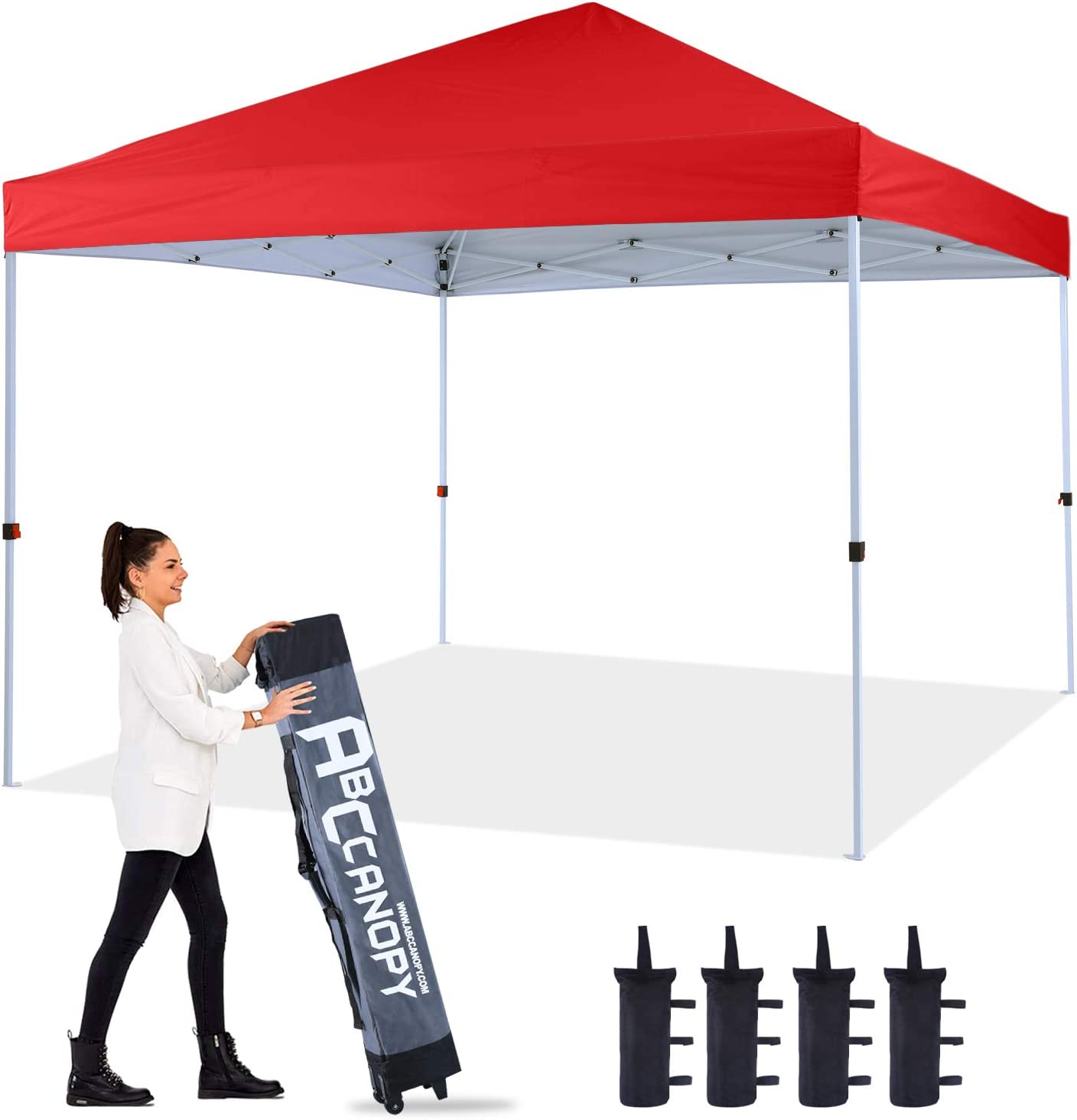 ABCCANOPY 10'x10' Pop up Canopy Instant Outdoor Tent Instant Shelter, Bonus Wheel Bag, Red