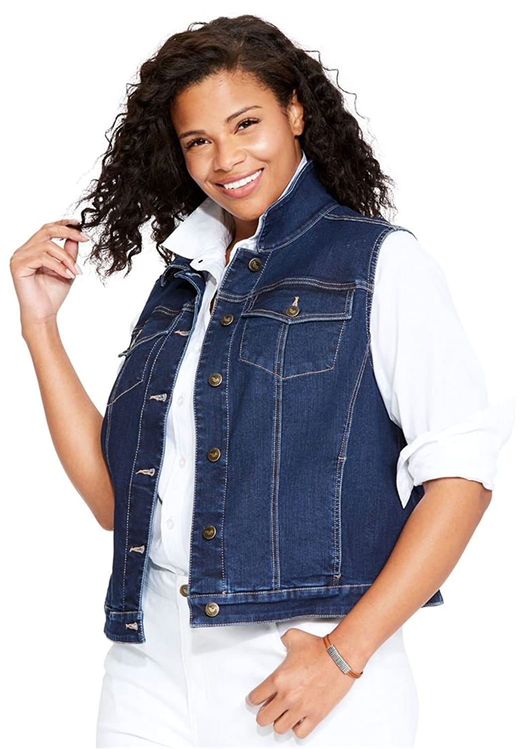 Woman Within Women's Plus Size Stretch Denim Vest