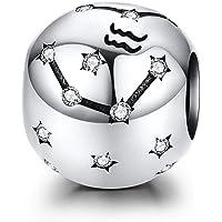 LaMenars 12 Constelación Abalorios Charms Plata de Ley 925, Abalorios de Zodiaco Compatible con Pulsera Pandora…