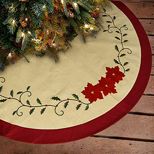 Ivenf 48 inch Deluxe Embroidery Holly Leaves Poinsettia Red Green Cotton Christmas Tree Skirt, Traditional Xmas Tree Holiday Decorations (Skirt Tree Green)
