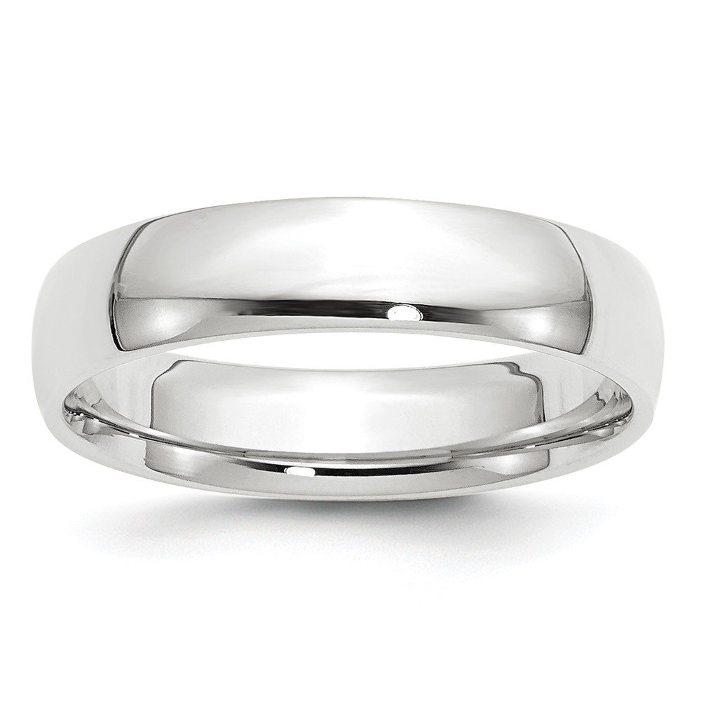 Solid 10k White Gold 5mm Comfort Fit Wedding Band Size 12.5
