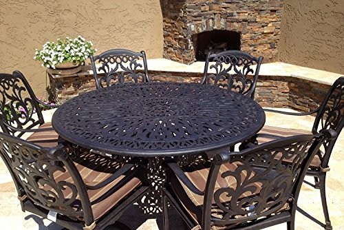 Mandalay Outdoor Patio 7pc Dining Set Dark Bronze Cast Aluminum (Walnut)