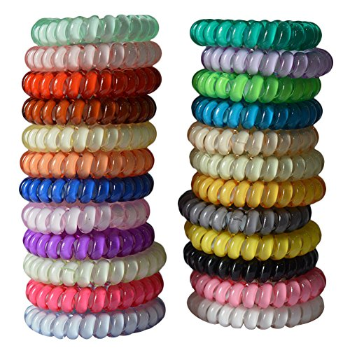 Price comparison product image Bzybel Colorful Telephone Wire Cord Elastic Head Tie Hair Band Hair TIes Ponytail Holders (10 colors) (10 colors)