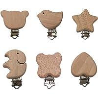 Toyvian 6 unids chupete clip de madera dentición chupete clip pezón clip mordedor del bebé juguetes para bebé recién nacido