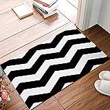 LovingIn Black and White Chevron Zigzag Pattern? Bath Rugs Soft Bath Mats for Bathroom Machine Washable Doormat 18x30inch
