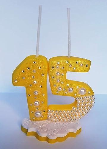 Vela decorada porcelana fría 15 Años Cumpleaños tarta ...