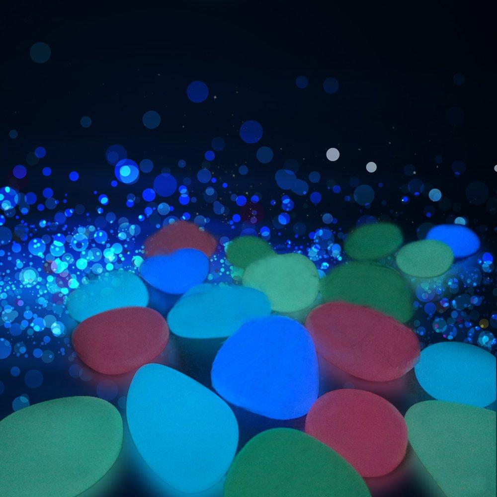 Gozheec fluoreszierende steine solar 300 stücke Leuchtende Steine Leuchtstein Dekostein Außenleuchte Künstliche Kieselsteine für Aquarium Garten Deko Gehweg