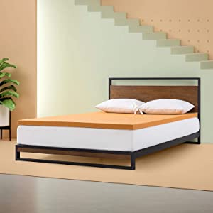 Zinus - 2 Inch Copper Memory Foam Mattress Topper/Antimicrobial and Odor-Resistant/Pressure Relieving Design with Cooling Foam, Queen