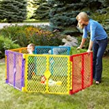 North States Superyard Colorplay 6-Panel Play Yard, Portable Indoor-Outdoor, Multi-Colored