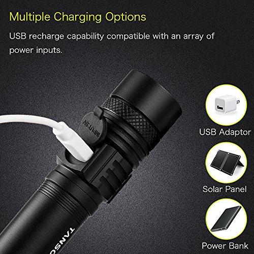 Tansoren USB rechargeable LED Lampe de poche mise au point réglable Super Bright étanche à main levée tactique lampe de poche avec 18650Batterie rechargeable et chargeur USB