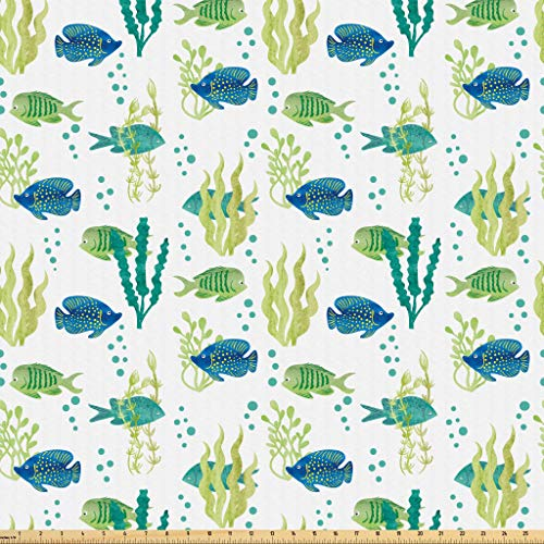 Lunarable Aquarium Fabric by The Yard, Different Tropical Fish and Seaweeds Exotic Marine Watercolor Artwork, Microfiber Fabric for Arts and Crafts Textiles & Decor, 1 Yard, Avocado Green Teal Blue from Lunarable