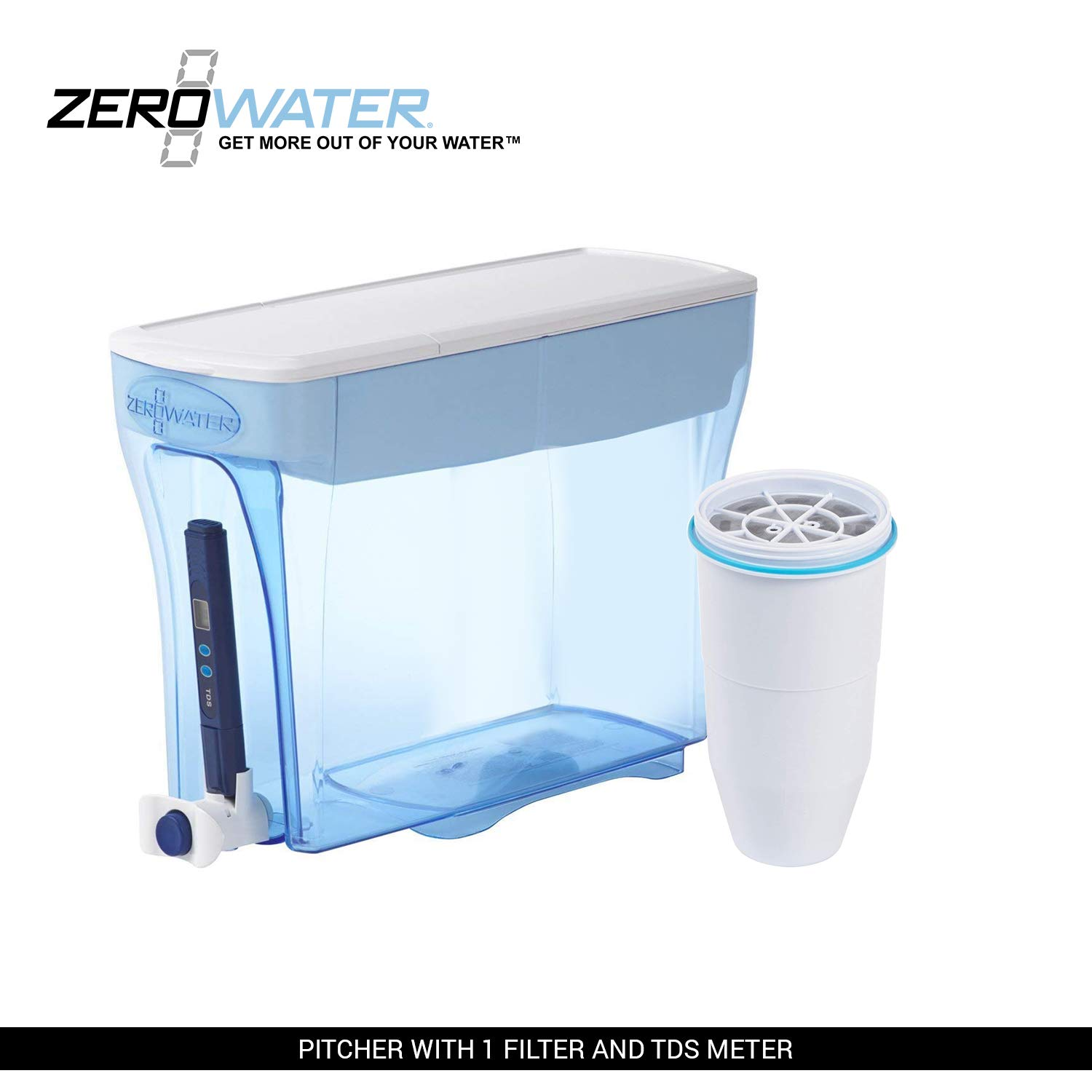 ZeroWater 23-Cup Pitcher with Filter and Water Quality Meter